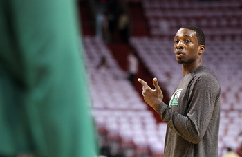 MIAMI, FL - MAY 03: Jeff Green #8 of the Boston Celtics warms up before Game Two of the Eastern Conference Semifinals of the 2011 NBA Playoffs against the Miami Heat at American Airlines Arena on May 3, 2011 in Miami, Florida. NOTE TO USER: User expressly
