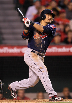 ANAHEIM, CA - MAY 7:  Shin-Soo Choo #17 of the Cleveland Indians hits a two RBI double in the third inning against the Los Angeles Angels of Anaheim on May 7, 2011 at Angel Stadium in Anaheim, California.    (Photo by Stephen Dunn/Getty Images)