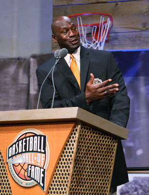 SPRINGFIELD, MA - SEPTEMBER 11:  Michael Jordan speaks during a news conference at the Naismith Memorial Basketball Hall of Fame on September 11, 2009 in Springfield, Massachusetts. (Photo by Jim Rogash/Getty Images)