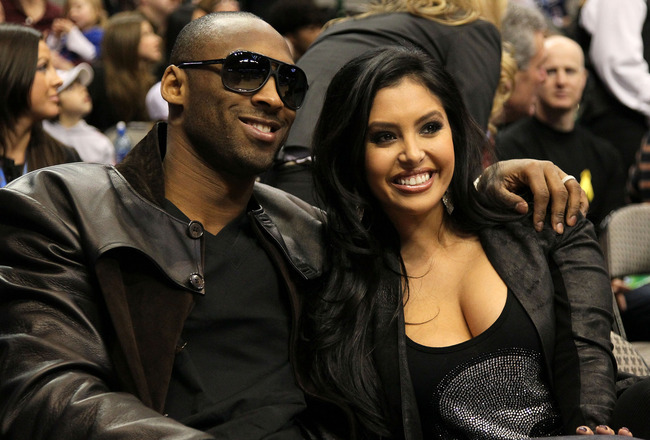 DALLAS - FEBRUARY 13:  Kobe Bryant #24 of the Los Angeles Lakers smiles with his wife Vanessa Lynne during the Taco Bell Skills Challenge on All-Star Saturday Night, part of 2010 NBA All-Star Weekend at American Airlines Center on February 13, 2010 in Dal