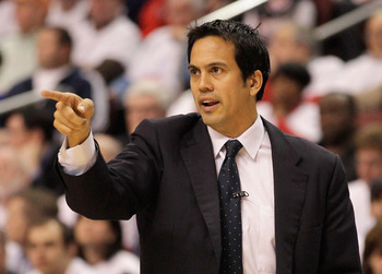 PHILADELPHIA, PA - APRIL 21: Head coach Erik Spoelstra of the Miami Heat during their game against the Philadelphia 76ers in Game Three of the Eastern Conference Quarterfinals during the 2011 NBA Playoffs at Wells Fargo Center on April 21, 2011 in Philade