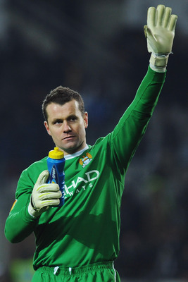 TURIN, ITALY - DECEMBER 16:  Shay Given of Manchester City salutes the crowd at the end of the UEFA Europa League group A match between Juventus FC and Manchester City at Stadio Olimpico di Torino on December 16, 2010 in Turin, Italy.  (Photo by Valerio P