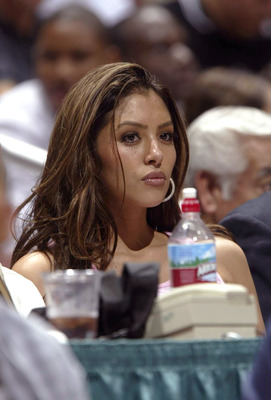 ANAHEIM, CA - OCTOBER 23:  Vanessa Bryant watches the Los Angeles Lakers take on the Los Angeles Clippers on October 23, 2003 during a preseason game at the Arrowhead Pond in Anaheim, California.  NOTE TO USER: User expressly acknowledges and agrees that,