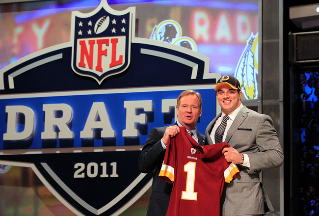 NEW YORK, NY - APRIL 28:  NFL Commissioner Roger Goodell (L) poses for a photo with Ryan Kerrigan, #16 overall pick by the Washington Redskins, on stage during the 2011 NFL Draft at Radio City Music Hall on April 28, 2011 in New York City.  (Photo by Chri