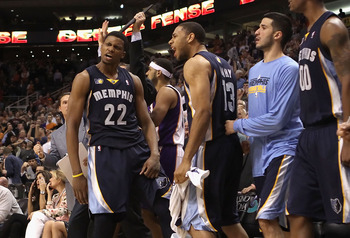 PHOENIX - DECEMBER 08:  Rudy Gay #22 of the Memphis Grizzlies reacts with Xavier Henry #13 after Gay hit the game tying three point shot against the Phoenix Suns at the end of regulation in the NBA game at US Airways Center on December 8, 2010 in Phoenix,