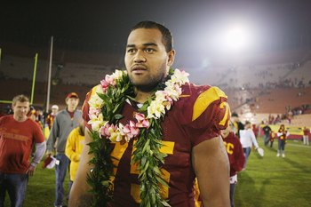 LOS ANGELES - NOVEMBER 29:  Matt Kalil #75 of the USC Trojans walks on the field after the game against the Notre Dame Fighting Irish on November 29, 2008 at the Los Angeles Memorial Coliseum in Los Angeles, California.  USC won 38-3.  (Photo by Jeff Gold