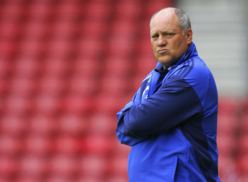 SOUTHAMPTON, UNITED KINGDOM - JULY 18: Manager of Ajax Martin Jol looks on prior the Pre Season Friendly match between Southampton and Ajax at St Mary's Stadium on July 18, 2009 in Southampton, England. (Photo by Tom Dulat/Getty Images)