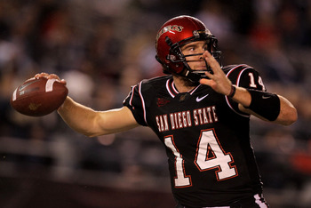 SAN DIEGO - NOVEMBER 20: Quarterback Ryan Lindley #14 of the San Deigo State Aztecs throws a pass against the Utah Utes at Qualcomm Stadium on November 20, 2010 in San Diego, California.  (Photo by Stephen Dunn/Getty Images)