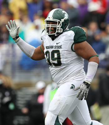 EVANSTON, IL - OCTOBER 23: Jerel Worthy #99 of the Michigan State Spartans celebrates a defensive play against the Northwestern Wildcats at Ryan Field on October 23, 2010 in Evanston, Illinois. Michigan State defeated Northwestern 35-27. (Photo by Jonatha