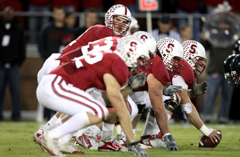 PALO ALTO, CA - NOVEMBER 27:  Andrew Luck #12 of the Stanford Cardinal lines up his team against the Oregon State Beavers at Stanford Stadium on November 27, 2010 in Palo Alto, California.  (Photo by Ezra Shaw/Getty Images)