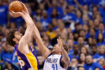 DALLAS, TX - MAY 06:  Forward Pau Gasol #16 of the Los Angeles Lakers takes a shot against Dirk Nowitzki #41 of the Dallas Mavericks in Game Three of the Western Conference Semifinals during the 2011 NBA Playoffs on May 6, 2011 at American Airlines Center