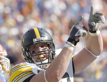 Iowa linebacker Chad Greenway celebrates a defensive stop against Florida in the 2006 Outback Bowl January 2 in Tampa.  Florida defeated Iowa 31 - 24. (Photo by A. Messerschmidt/Getty Images) *** Local Caption ***