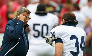 TUSCALOOSA, AL - SEPTEMBER 11:  Head coach Joe Paterno and Nate Stupar #34 of the Penn State Nittany Lions during warmups before facing the Alabama Crimson Tide at Bryant-Denny Stadium on September 11, 2010 in Tuscaloosa, Alabama.  (Photo by Kevin C. Cox/