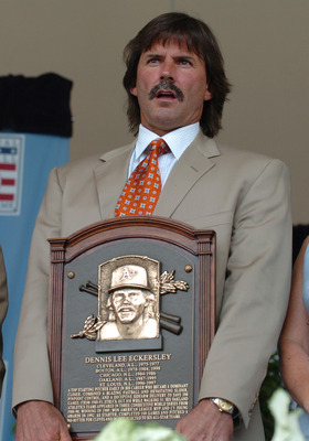 Pitcher Dennis Eckersley poses with his plaque at  2004  Baseball Hall of Fame induction ceremonies  July 25, 2004 in Cooperstown, New York. (Photo by A. Messerschmidt/Getty Images) *** Local Caption ***