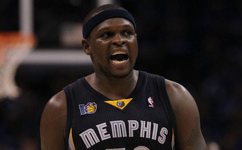 OKLAHOMA CITY, OK - MAY 01:  Forward Zach Randolph #50 of the Memphis Grizzlies reacts against the Oklahoma City Thunder in Game One of the Western Conference Semifinals in the 2011 NBA Playoffs on May 1, 2011 at Oklahoma City Arena in Oklahoma City, Okla