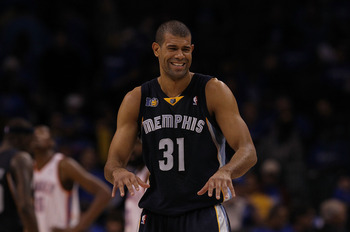OKLAHOMA CITY, OK - MAY 01:  Forward Shane Battier #31 of the Memphis Grizzlies reacts during a 114-101 win against the Oklahoma City Thunder in Game One of the Western Conference Semifinals in the 2011 NBA Playoffs on May 1, 2011 at Oklahoma City Arena i