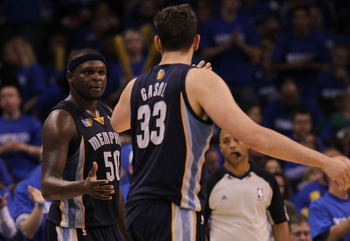OKLAHOMA CITY, OK - MAY 01:  Forward Zach Randolph #50  and Marc Gasol #33 of the Memphis Grizzlies celebrate a 114-101 win against the Oklahoma City Thunder in Game One of the Western Conference Semifinals in the 2011 NBA Playoffs on May 1, 2011 at Oklah