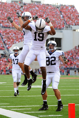 COLUMBUS, OH - NOVEMBER 13:  Justin Brown #19 of the Penn State Nittany Lions celebrates his first quarter touchdown reception against the Ohio State Buckeyes at Ohio Stadium on November 13, 2010 in Columbus, Ohio.  (Photo by Jamie Sabau/Getty Images)
