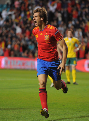 SALAMANCA, SPAIN - OCTOBER 08:  Fernando Llorente of Spain celebrates after scoring his team's first goal during the EURO 2012 Qualifying Group I match between Spain and Lithuania at the Helmantico stadium on October 8, 2010 in Salamanca, Spain.  (Photo b