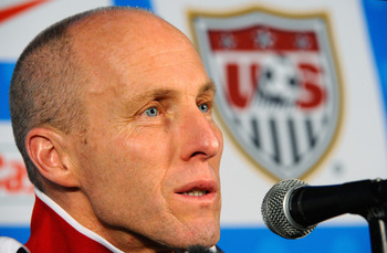 PRETORIA, SOUTH AFRICA - JUNE 24:  Head coach Bob Bradley of USA speaks during a press conference at Irene Farm on June 24, 2010 in Irene south of  Pretoria, South Africa.  United States will play their second round  2010 World Cup match against Ghana on
