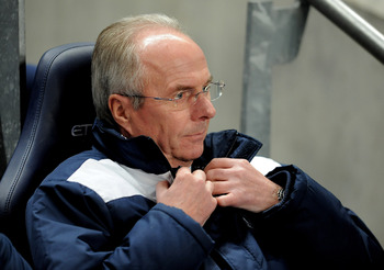 MANCHESTER, ENGLAND - JANUARY 18:  Leicester City Manager Sven Goran Eriksson looks on prior to the FA Cup sponsored by E.On Third Round Replay match between Manchester City and Leicester City at the City of Manchester Stadium on January 18, 2011 in Manch
