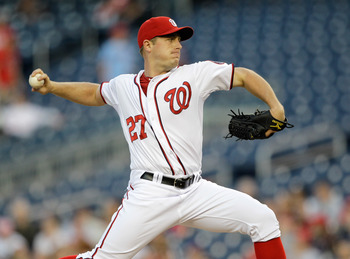 WASHINGTON, DC - APRIL 14:  Starting pitcher Jordan Zimmermann #27 of the Washington Nationals delivers to a Philadelphia Phillies batter at Nationals Park on April 14, 2011 in Washington, DC.  (Photo by Rob Carr/Getty Images)