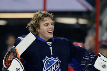 RALEIGH, NC - JANUARY 30:  Jonas Hiller #1 of the Anaheim Ducks and Team Lidstrom takes a break during their game against Team Staal in the 58th NHL All-Star Game at RBC Center on January 30, 2011 in Raleigh, North Carolina.  (Photo by Kevin C. Cox/Getty