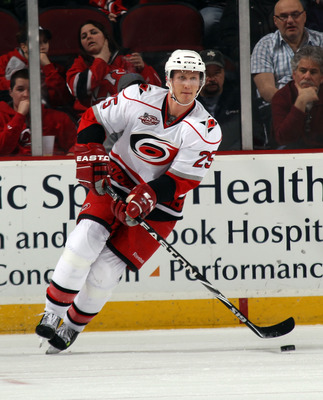 NEWARK, NJ - FEBRUARY 16:  Joni Pitkanen #25 of the Carolina Hurricanes skates against the New Jersey Devils at the Prudential Center on February 16, 2011 in Newark, New Jersey.  (Photo by Bruce Bennett/Getty Images)