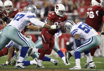 GLENDALE, AZ - DECEMBER 25:  Runningback Beanie Wells #26 of the Arizona Cardinals rushes the football against the Dallas Cowboys during the NFL game at the University of Phoenix Stadium on December 25, 2010 in Glendale, Arizona. The Cardinals defeated th