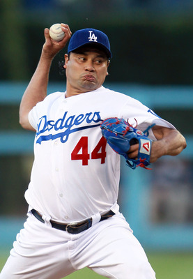 LOS ANGELES, CA - AUGUST 04:  Vicente Padilla #44 of the Los Angeles Dodgers pitches against the San Diego Padres at Dodger Stadium on August 4, 2010 in Los Angeles, California.  (Photo by Jeff Gross/Getty Images)