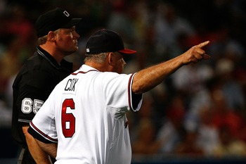 ATLANTA - AUGUST 14:  Atlanta Braves manager Bobby Cox argues with home plate umpire Ted Barrett in the fifth inning of the game against the San Francisco Giants at Turner Field August 14, 2007 in Atlanta, Georgia. Cox was ejected shortly afterwards for t