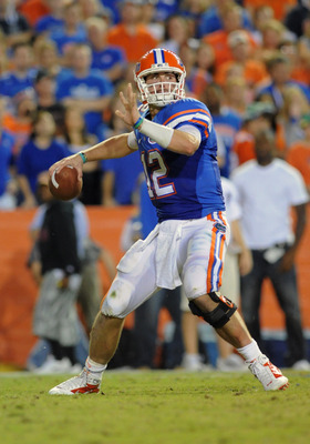 GAINESVILLE, FL - OCTOBER 16:  Quarterback John Brantley #12 of the Florida Gators sets to pass against the Mississippi State Bulldogs October 16, 2010 Ben Hill Griffin Stadium at Gainesville, Florida.  (Photo by Al Messerschmidt/Getty Images)