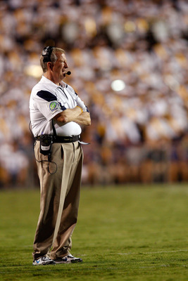 BATON ROUGE, LA - SEPTEMBER 25:  Head coach Bill Stewart of the West Virginia Mountaineers watches a play against the  Louisiana State University Tigers at Tiger Stadium on September 25, 2010 in Baton Rouge, Louisiana.  The Tigers defeated the Mountaineer