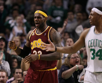BOSTON - MAY 09:  LeBron James #23 of the Cleveland Cavaliers and Paul Pierce #34 of the Boston Celtics react to a call during Game Four of the Eastern Conference Semifinals of the 2010 NBA playoffs at TD Garden on May 9, 2010 in Boston, Massachusetts  NO