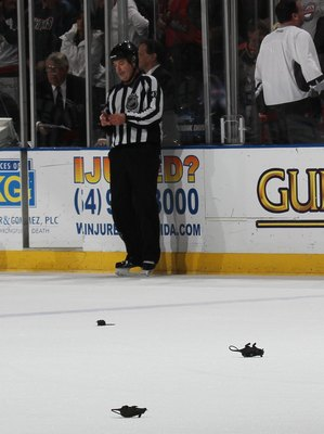 SUNRISE, FL - JANUARY 26: Plastic rats hit the ice following a Florida Panthers victory over the Montreal Canadiens at the BankAtlantic Center on January 26, 2010 in Sunrise, Florida. (Photo by Bruce Bennett/Getty Images)