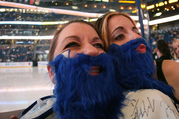 TAMPA, FL - APRIL 18: Tampa Bay Lightning fans wearing blue beards lend their support for their team against the Pittsburgh Penguins in Game Three of the Eastern Conference Quarterfinals during the 2011 NHL Stanley Cup Playoffs at the St. Pete Times Forum