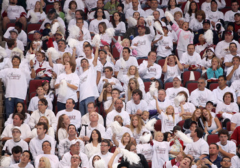 GLENDALE, AZ - OCTOBER 10:  Fans wear white t shirts in the 'white out' night at of the NHL game between the Columbus Blue Jackets and the Phoenix Coyotes at Jobing.com Arena on October 10, 2009 in Glendale, Arizona. The Blue Jackets defeated the Coyotes