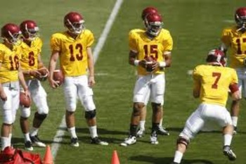 USC quarterbacks during 2011 spring practice
