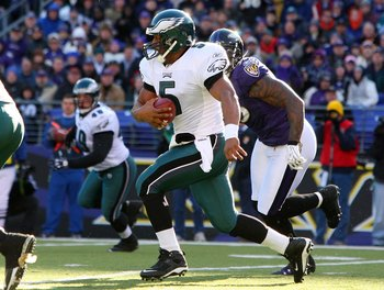 BALTIMORE - NOVEMBER 23:  Donovan McNabb #5 of the Philadelphia Eagles runs the ball against the Baltimore Ravens on November 23, 2008 at M&T Bank Stadium in Baltimore, Maryland.  (Photo by Jim McIsaac/Getty Images)
