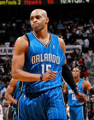 ATLANTA - MAY 10:  Vince Carter #15 of the Orlando Magic reacts after a basket against the Atlanta Hawks during Game Four of the Eastern Conference Semifinals of the 2010 NBA Playoffs at Philips Arena on May 10, 2010 in Atlanta, Georgia.  NOTE TO USER: Us