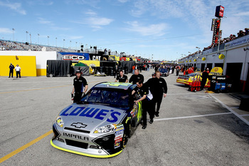 Jimmie Johnson crew is one of beat on pit road.