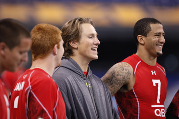 INDIANAPOLIS, IN - FEBRUARY 27: Blaine Gabbert looks on during the 2011 NFL Scouting Combine at Lucas Oil Stadium on February 27, 2011 in Indianapolis, Indiana. (Photo by Joe Robbins/Getty Images)