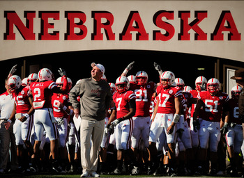 LINCOLN, NE - OCTOBER 30: Coach Bo Pelini soaks up the atmosphere before leading his Nebraska Cornhusker football team on the field against the Missouri Tigers at Memorial Stadium on October 30, 2010 in Lincoln, Nebraska. Nebraska Defeated Missouri 31-17.
