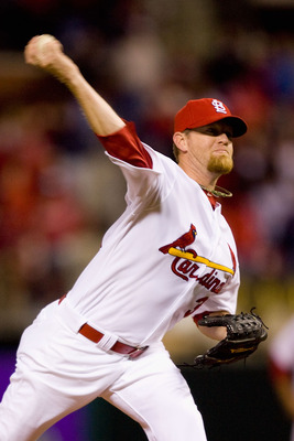 ST. LOUIS - APRIL 26: Relief pitcher Ryan Franklin #31 of the St. Louis Cardinals throws against the Atlanta Braves at Busch Stadium on April 26, 2010 in St. Louis, Missouri.  The Cardinals beat the Braves 4-3.  (Photo by Dilip Vishwanat/Getty Images)