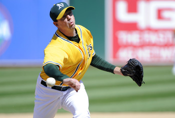 OAKLAND, CA - MAY 1: Brad Ziegler #31 of the Oakland Athletics pitches against the Texas Rangers during a MLB baseball game at the Oakland-Alameda County Coliseum May 1, 2011 in Oakland, California. (Photo by Thearon W. Henderson/Getty Images)