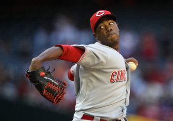 PHOENIX, AZ - APRIL 10:  Relief pitcher Aroldis Chapman #54 of the Cincinnati Reds pitches against the Arizona Diamondbacks during the Major League Baseball game at Chase Field on April 10, 2011 in Phoenix, Arizona. The Diamondbacks defeated the Reds 10-8