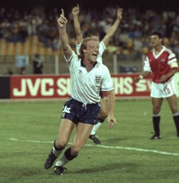 21 Jun 1990:  Mark Wright (centre) of England scores the only goal during the World Cup match against Egypt in Cagliori, Italy. England won the match 1-0.   \ Mandatory Credit: David  Cannon/Allsport
