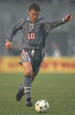 9 Nov 1996:  Teddy Sheringham of England in action during the world cup qualifier between Georgia and England Tbilisi, Georgia. Mandatory Credit: Clive Brunskill/Allsport