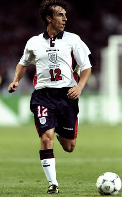 22 Jun 1998:  Gary Neville of England looks up during the World Cup group G game against Romania at the Stade Municipal in Toulouse, France. Romania won 2-1. \ Mandatory Credit: Ben Radford /Allsport