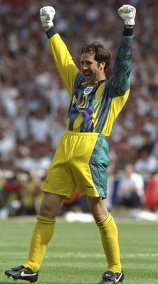 15 Jun 1996:   Goalkeeper David Seaman celebrates victory at the end of the England v Scotland match in Group A of the European Football Championships at Wembley. David Seaman, who was capped 75 times for England, announced his decision to retire January